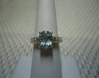 Oval Cut Aquamarine Ring in Sterling Silver   #1394