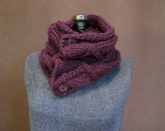 Knit Purple Cowl, Chunky Knit Neckwarmer