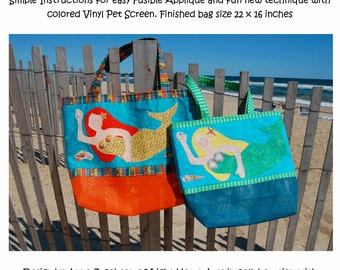 Sewing Pattern  -Mermaid Beach Bag  (Vinyl Pet Screen Bag) downloadable
