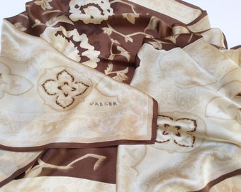 ON SALE, Vintage Jaeger Silk Shawl, Large Silk Shawl, Brown Cream Colours, Mint Condition