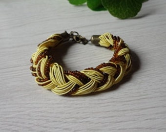 Tibetan Napal Style Yellow  Beaded Strand Braided Rope Bracelet