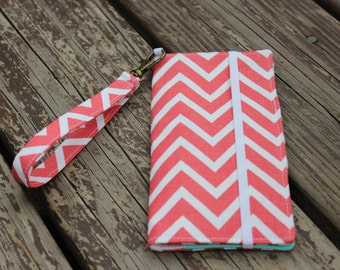 Coral Chevron Smart Phone Wallet for iPhone/Samsung/Blackberry