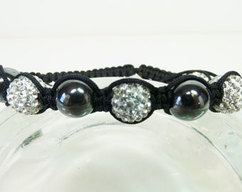 Hematite and Paved Shambala Bracelet, Macrame Black and White Bracelet, Shambala Bracelet