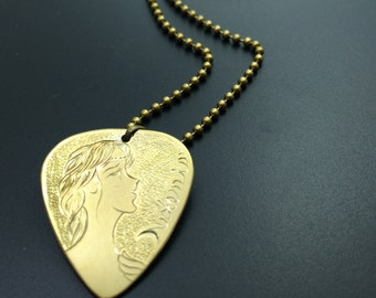 Guitar pick necklace Myth necklace Artisan jewelry Engraved guitar pick pendant