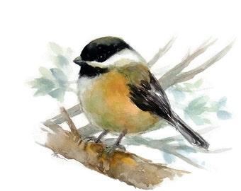 Original Watercolor Bird Art Bird Illustration Animal Nursery Art Hand Painted Bird painting 6x8 Chickadee