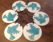 Dove Bunting Turquoise Bird Wedding Decoration Wall Hanging Clay Doves UK