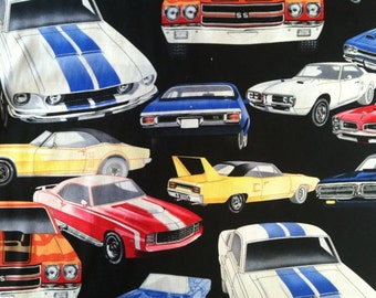 Alexander Henry - Nicole Prints Pure Muscle Car's on Black 6319-BR by the Yard