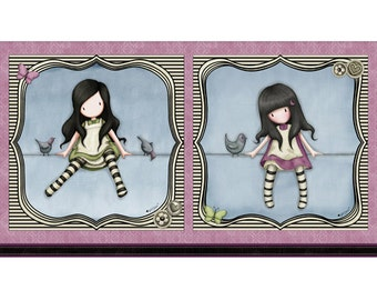 Quilting Treasures - Santoro's Gorjuss On Top of The World Girl Panel in Lilac 23565-L by the Panel