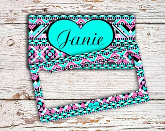 Gifts for first car, Monogram license plate or frame, Cute Aztec car tag, Tribal bike license plate, Car accessory, bike accessories  (1393)