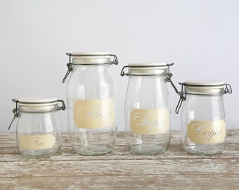 Vintage Glass Kitchen Canisters, Carlton Glass Kitchen Canisters, Flour, Sugar, Coffee, Tea, Clear Glass Canisters, Fixer Upper Decor