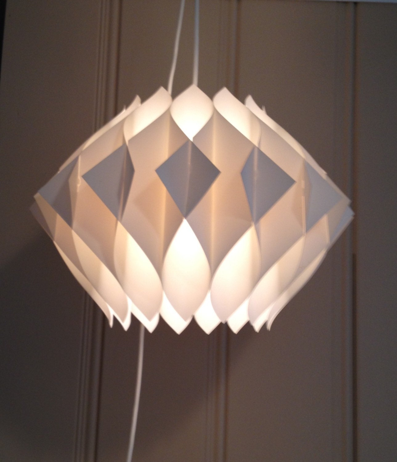 FOLDED PLASTIC LIGHT Hanging Chandelier Mid By BstreetVintage