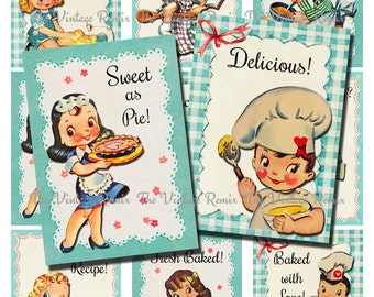 INSTANT DOWNLOAD Printable Digital Collage Sheet, Retro Kitchen Bakers and Chefs, Cute for Image Transfers, Labels and Tags, atc/aceo sized.