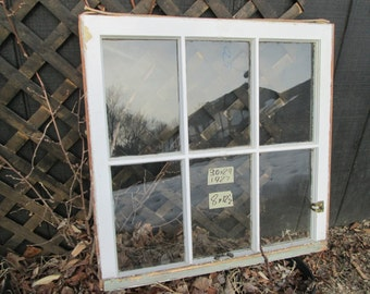 30 x 29 Vintage Antique Window sash old 6 pane from 1927 Arts& Crafts