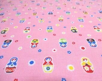 Japanese Fabric LECIEN Matryoshka  Pink FQ