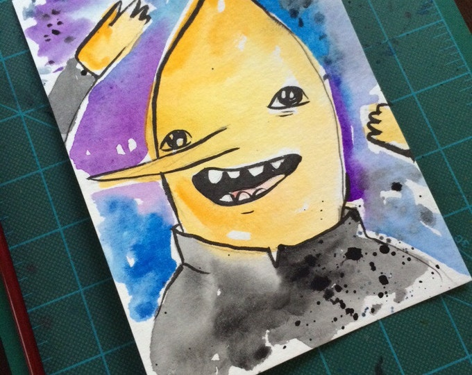 "Original Watercolor Painting ""Lemongrab"" 5x7 inch original drawing/painting. Adventure Time inspired. 1/1 available!"