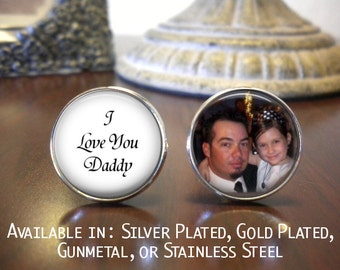 SALE! Father of the Bride Cufflinks - Personalized Cufflinks - I Love you Daddy with Photo