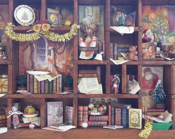 "Mini library thematic miniature dollhouse ""I wish you a merry Christmas"""