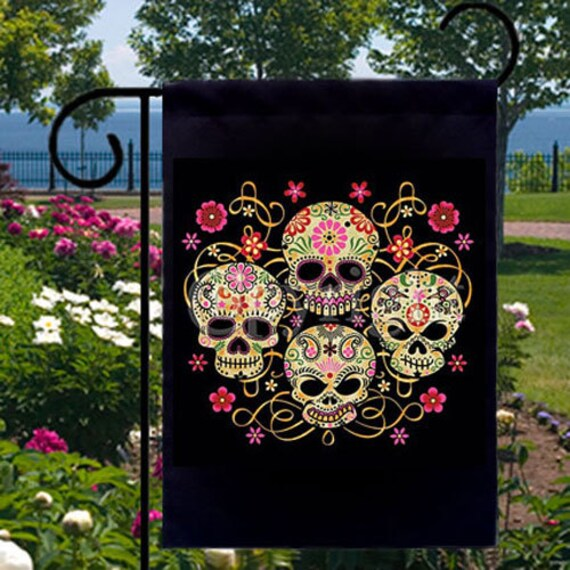 Gothic Sugar Skulls New Small Garden Flag Events Gifts Day of