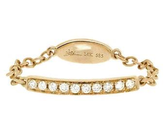 Beautiful 14k Gold Diamond Chain Ring  BXSC55001212