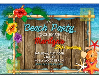 Beach Party Invitation, Summer Beach Invitation, Party at the Beach Invitation, Beach Party, Summer Birthday, Tropical Beach Invitation DIY