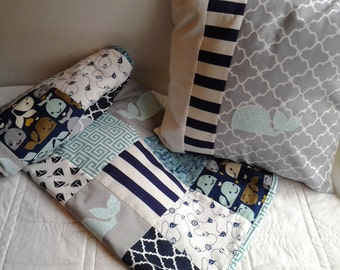 Nautical Baby Quilt and Matching Pillow, Navy, Turquoise and Gray Nursery Bedding, Nautical Crib Quilt and Whale Pillow