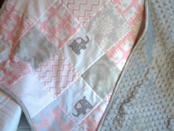 Pink And Gray Elephant Baby Quilt Pink By Modernmeetsclassic