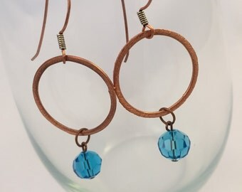 Brushed Copper Circle Earrings
