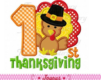 Instant Download First/1st Thanksgiving With Turkey Boy Embroidery Applique Design NO:1635