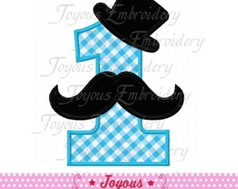 Instant Download Number 1 With Mustache Embroidery Applique Design NO:1674