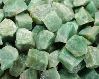 Fantasia Materials: 1 lb Green Aventurine Rough from India - Raw Natural Crystals for Tumbling, Wrapping, Polishing, Reiki and More!