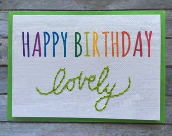 Happy Birthday Lovely (in lime green) - Hand stitched/embroidered greeting card