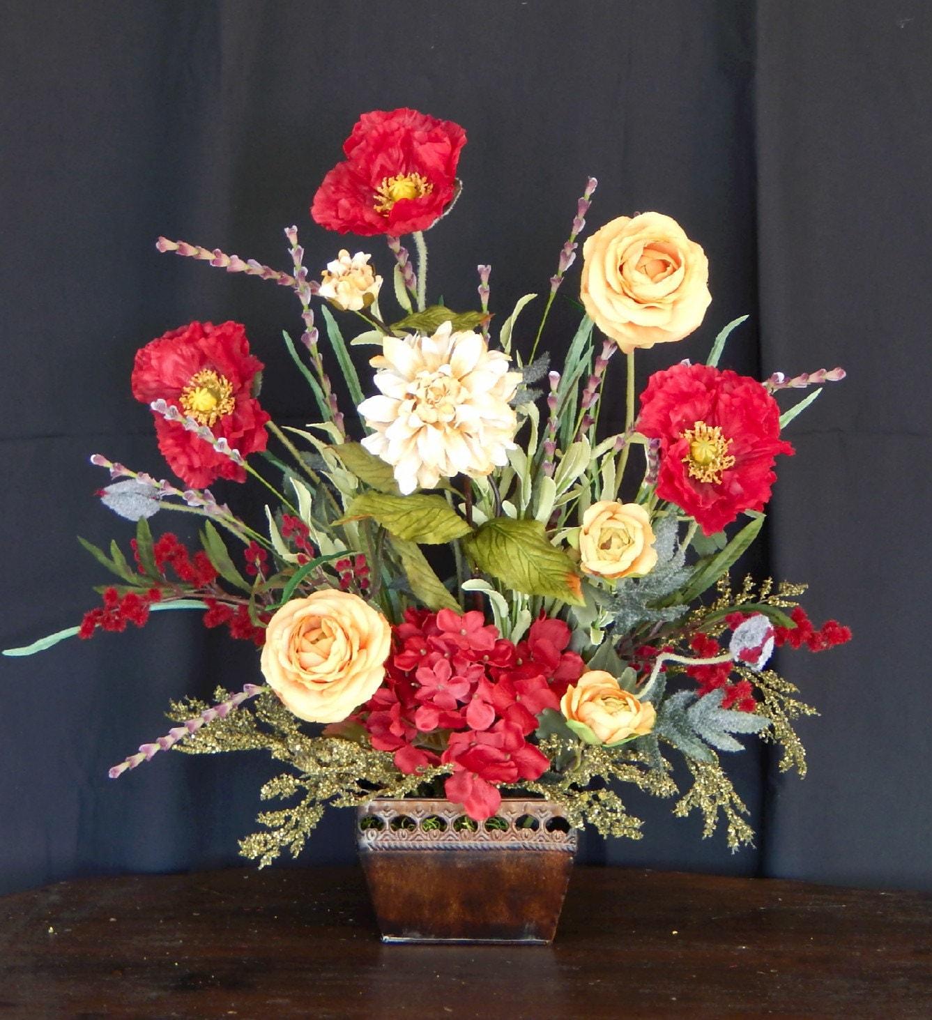 Mantel Arrangements: Red Poppy Silk Floral Arrangement Fireplace Mantel