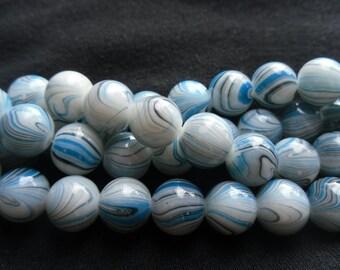 Blue Stripe Glass Bead Strand 12mm     -CB-9