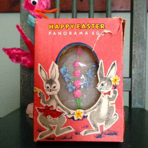 Vintage Easter Panorama Egg Sugar Bunny Chicks Diorama Easter Holiday Decor Collectible 1950s Old Candy Egg