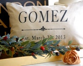 Grain sack style pillow with black lettering,for wedding,anniversary,house warming,home dec,2nd anniversary cotton gift