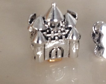925 Sterling Silver Plated Castle european type charm with the large hole.