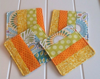 Set of 4 Coasters, Set of 4 Patchwork Coasters