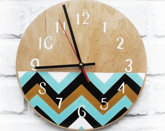 Wood Striped zigzag Wall Clock, white home decor, for Office, Dad Gift, Gift to our Father, Dad Appreciation Gift, Fathers Day Gift