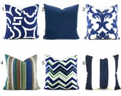 Outdoor/Indoor Pillow Covers ANY SIZE You Choose Navy Blue Pillows Decorative Pillows Navy Pillows Navy Blue