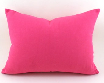 CLEARANCE SALE Lumbar Pillow Covers Decorative Pillows Hot Pink Pillow Premier Prints Solid Candy Pink