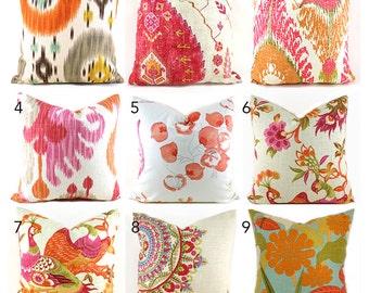 Pillow Covers ANY SIZE Decorative Pillow Cover Pink Pillow Orange Pillows Ikat Pillow You Choose