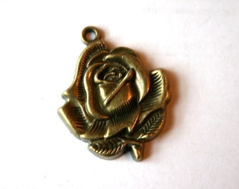 2 Antique Bronze Rose Charms/Pendants