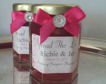 Wedding Jam Favors/2 oz Jams/Gem Decorated / Bling Wedding / 50 Two oz jars/ Vintage Inspired / Flavor-Color-Ribbon- Your choice