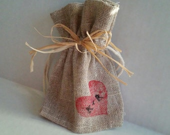 Natural Linen Heart Favor Bags-Set of 10 /Custom Initials/ Hand-Stamped & Decorated /EngagementParty/ Eco-Friendly Wedding or Bridal Shower