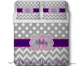 Polka dot and Chevron Personalized Comforter or Duvet -  Purple, Pink and Gray Monogrammed Bedding - Purple Pink and Gray Bedroom