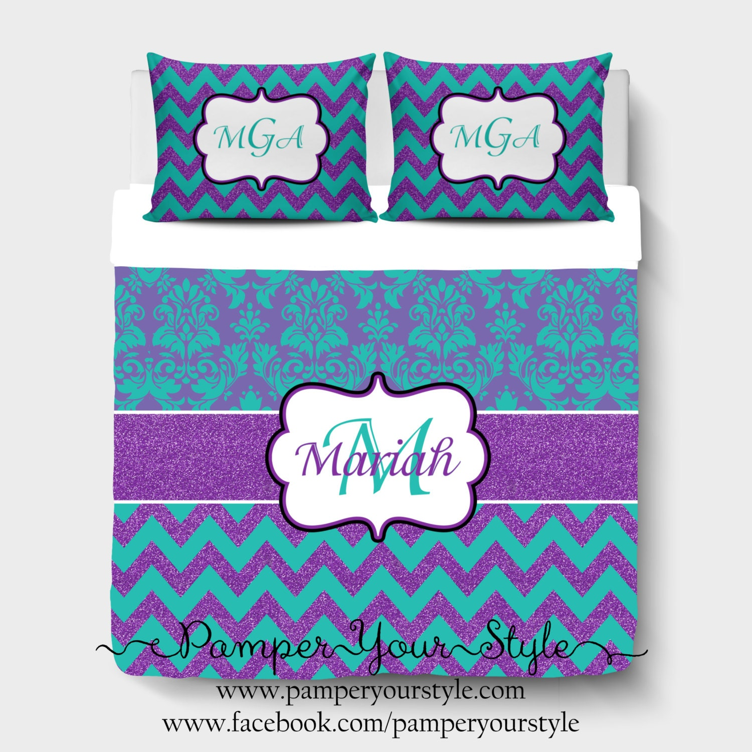 damask and chevron bedding purple and turquoise glitter