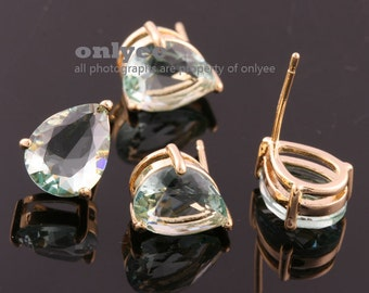 2pcs-11mmX9mmBright Gold plated Brass Faceted teardrop CZ, Glass zirconia earring, 925 sterling silver post Earring-BlueLite(M372G-E)