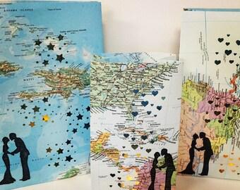 1 Custom Map Luminary, Travel Themed, Maps, Destination Wedding,Travel, Honeymoon Keepsake, Anniversary Gift, Paper Anniversary, Weddings