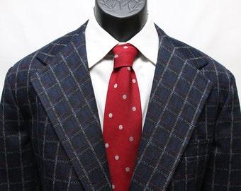 Vintage Men's Jacket Blue Plaid Retro  Blazer Size 42