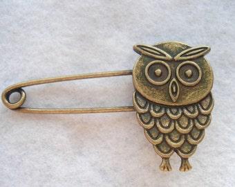 Bronze Tone Owl Shawl Pin Owl Kilt Pin Owl Brooch MB26